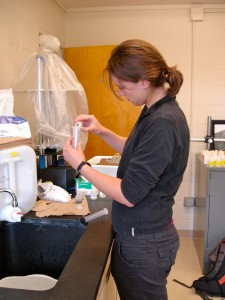REU Student Maggie Zimmer Testing Ground Water pH