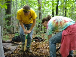Katie (at right), digging a soil pit with fellow REU Student Maggie Zimmer