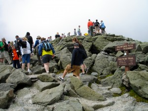 Line of people waiting to summit